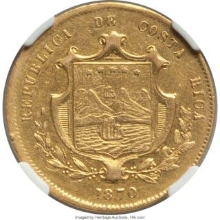Republic gold 10 Pesos 1870-GW XF45 NGC,...