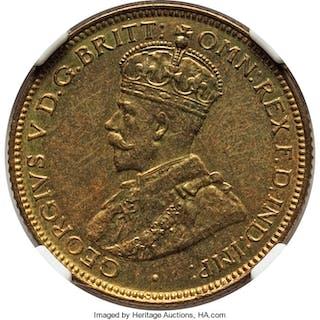 British Colony. George V tin-brass Proof 6 Pence 1925 PR64 NGC,...