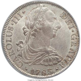 Charles III 8 Reales 1783 Mo-FF AU58 PCGS,...