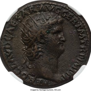 Nero (AD 54-68). AE dupondius (27mm, 6h). NGC Choice VF....