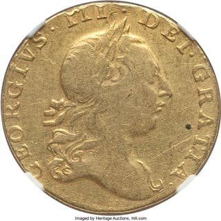 George III gold Guinea 1763 Fine Details (Mount Removed) NGC,...