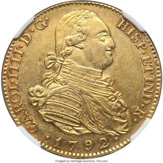 Charles IV gold 4 Escudos 1792 M-MF AU55 NGC,...