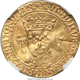 Louis XII gold Ecu d'Or au Soleil de Bretagne ND (1498-1515) VF35 NGC,...