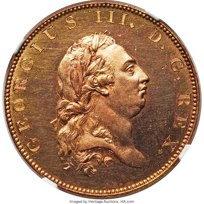 George III gilt-copper Proof Pattern 1/2 Penny 1788 PR63 NGC,...