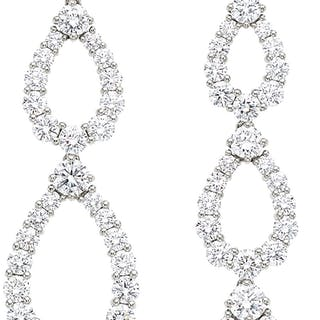 Diamond, Platinum Earrings, Harry Winston ...
