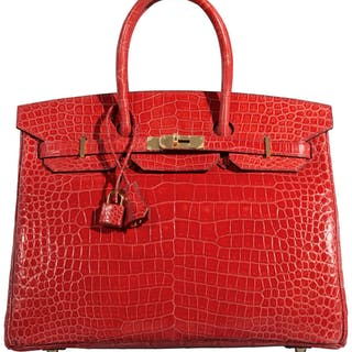 Hermès 35cm Bougainvillea Porosus Crocodile Birkin Bag with Gold Hardware