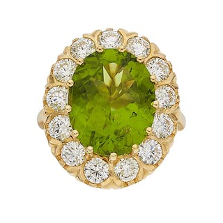 Peridot, Diamond, Gold Ring ...