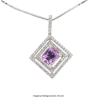 Pink Sapphire, Diamond, White Gold Pendant-Necklace ...