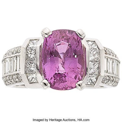 Pink Sapphire, Diamond, White Gold Ring ...