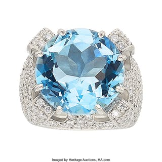 Aquamarine, Diamond, Platinum Ring ...