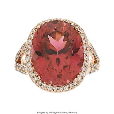 Pink Tourmaline, Diamond, Rose Gold Ring ...