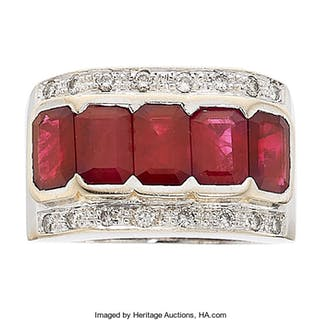 Burma Ruby, Ruby, Diamond, White Gold Ring ...