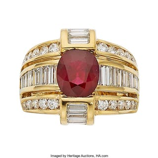 Ruby, Diamond, Gold Ring, Charles Krypell ...