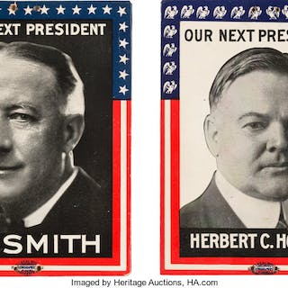 Al Smith & Herbert Hoover: Campaign Plaques. ... (Total: 2 Items)