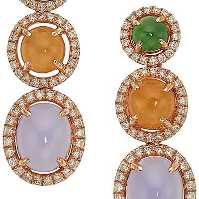 Jadeite Jade, Diamond, Rose Gold Earrings ...