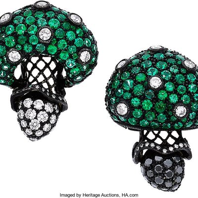 Emerald, Diamond, Colored Diamond, Gold, Silver Brooches, Carnet