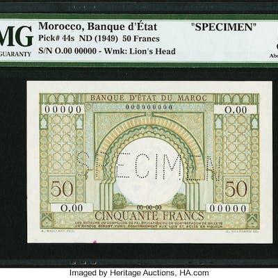 Morocco Banque d'Etat du Maroc 50 Francs ND (1949) Pick 44s Specimen