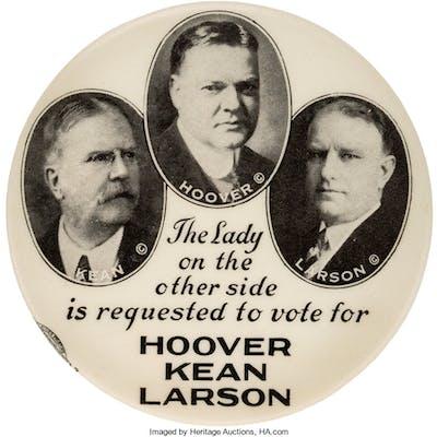 Herbert Hoover: New Jersey Coattail Trigate Pocket Mirror. ...
