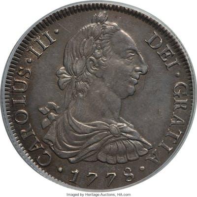 Charles III 8 Reales 1778 LM-MJ AU58 PCGS,...