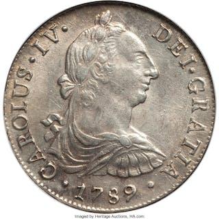 Charles IV 8 Reales 1789 LM-IJ AU58 NGC,...