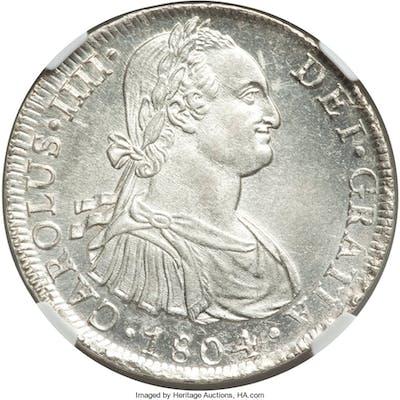 Charles IV 8 Reales 1804 LM-JP MS62 NGC,...