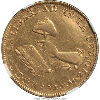 Republic gold 8 Escudos 1824 Mo-JM XF Details (Tooled) NGC,...
