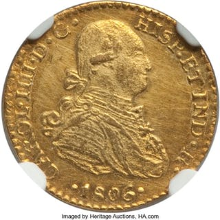 Charles IV gold Escudo 1806 Mo-TH UNC Details (Cleaned) NGC,...