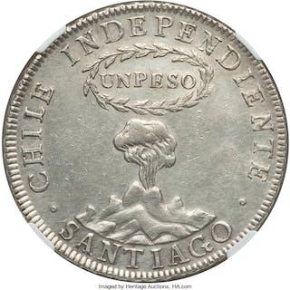 "Republic ""Volcano"" Peso 1817 SANTIAGO-FJ AU Details (Cleaned) NGC,..."