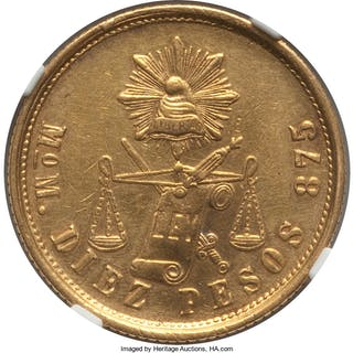 Republic gold 10 Pesos 1874/3 Mo-M AU Details (Obverse Cleaned) NGC,...