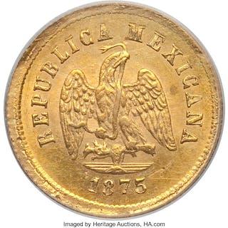 Republic gold 2-1/2 Pesos 1875/3 Zs-A MS62 PCGS,...