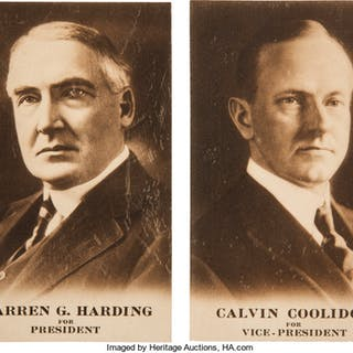 Harding & Coolidge: Matched Pair of 1920 Campaign Postcards. ... (Total: