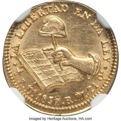 Republic gold 1/2 Escudo 1836/4 Do-RM MS65 NGC,...