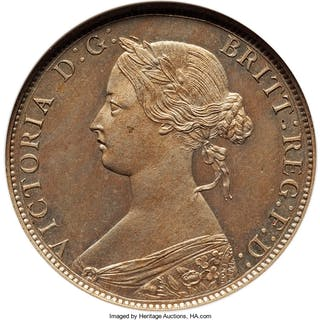 Victoria copper-nickel Proof 1/2 Penny 1868 PR63 NGC,...