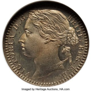 Victoria copper-nickel Proof 1/3 Farthing 1868 PR65 NGC,...
