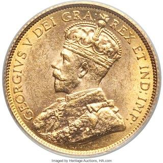 George V gold 5 Dollars 1913 MS61 PCGS,...