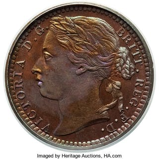 Victoria Proof 1/3 Farthing 1866 PR66 Brown PCGS,...