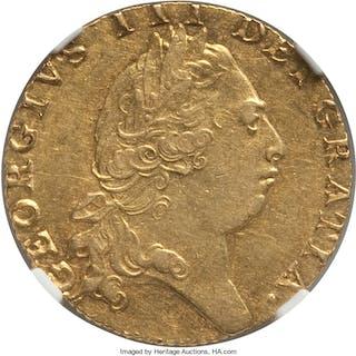 George III gold Guinea 1793 AU58 NGC,...