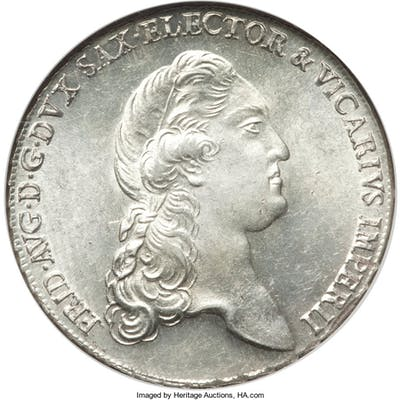 "Saxony. Friedrich August III ""Vicariat"" Taler 1790-IEC MS65 NGC,..."