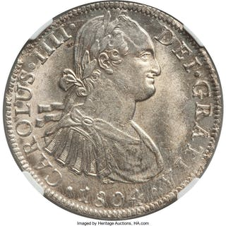 Charles IV 8 Reales 1804 Mo-TH MS64 NGC,...