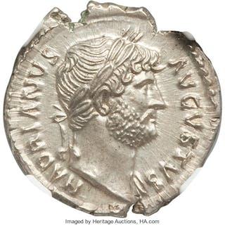 Hadrian (AD 117-138). AR denarius (19mm, 3.39 gm, 7h). NGC MS S 5/5 - 4/5. ...