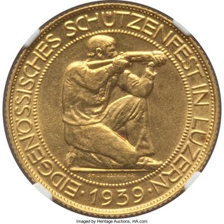 """Confederation gold Medallic """"Lucerne Shooting Festival"""" 100 Francs"""