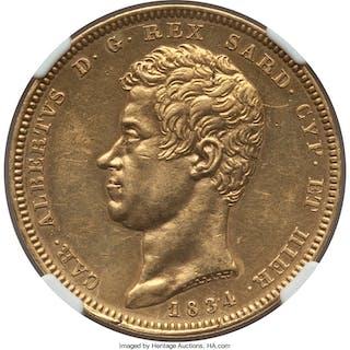 Sardinia. Carlo Alberto gold 100 Lire 1834 (Eagle)-P AU Details (Obverse