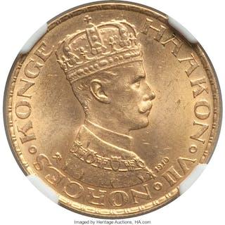 Haakon VII gold 20 Kroner 1910 MS63 NGC,...