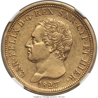 Sardinia. Carlo Felice gold 80 Lire 1827 (Eagle)-L XF45 NGC,...