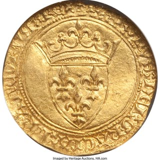 Charles VI gold Ecu d'Or a la couronne ND (1380-1422) MS61 NGC,...