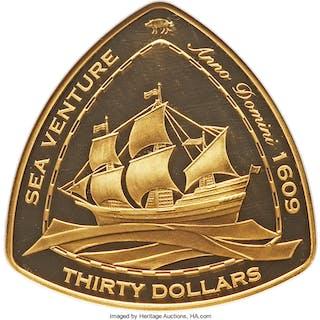 "British Colony. Elizabeth II gold Proof ""Sea Venture"" 30 Dollars 2006"