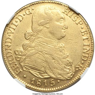 Ferdinand VII gold 8 Escudos 1815 NR-JF XF Details (Cleaned) NGC,...