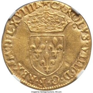 Charles IX (1560-1574) gold Ecu d'Or au Soleil 1568-M AU Details (Cleaned)