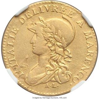 Piedmont. Subalpine Republic gold 20 Francs L'An 10 (1801/2) VF Details