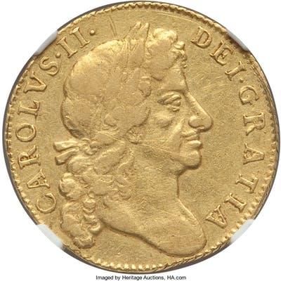 Charles II gold Guinea 1680 VF Details (Cleaned) NGC,...